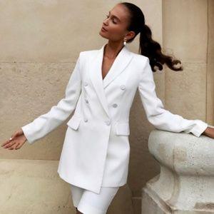Zara Womens White Tuxedo Blazer Suit Jacket Small